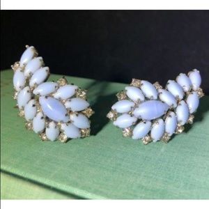 Icy Blue Milk Glass Climber Earrings Clip Vintage